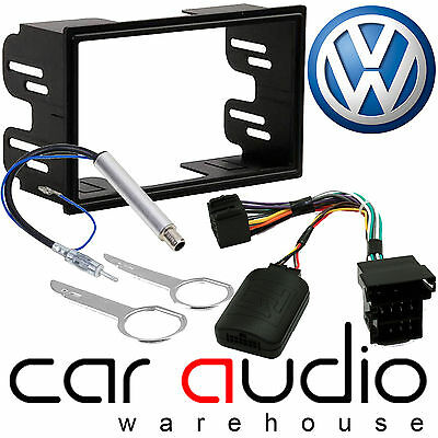 VW Passat B5 Double Din Car Stereo Fascia Aerial & Steering Wheel Interface Kit