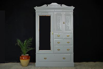Antique Victorian Combination Wardrobe/ Compactum/Armoire With Mirror Door