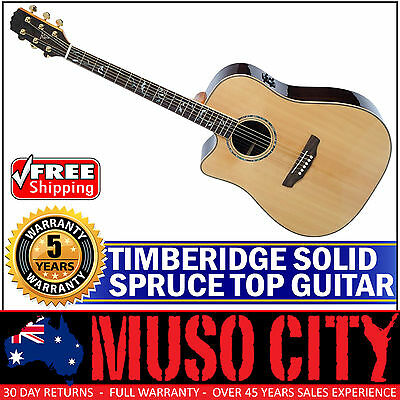 New Timberidge Left-Handed Solid Spruce Top Acoustic-Electric Dreadnought Guitar