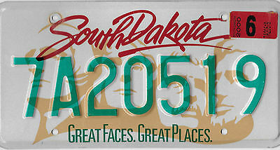 2000 South Dakota Faces Places License Plate 7 A 20519 Mount Rushmore Very Nice