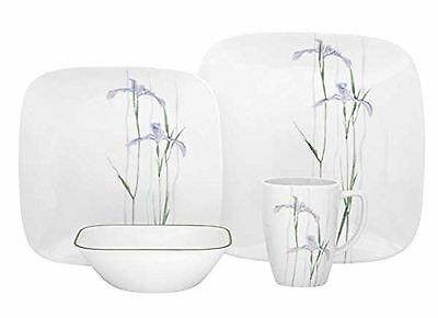 Corelle Square Round 16-Piece Dinnerware Set Shadow Iris Service for 4