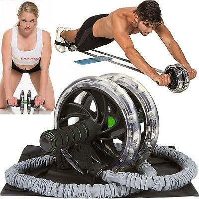 AB WOW Ab Roller with Bonuses Pro Abdominal Workout & Core Fitness Trainer fo...