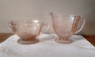 HOCKING PINK MAYFAIR DEPRESSION GLASS CREAM and SUGAR