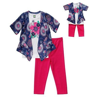 Dollie Me Girl 4-14 and Doll Matching Navy Mock Top Legging Outfit American Girl