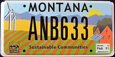 """MONTANA """" SUSTAINABLE COMMUNITIES - WINDMILL - SOLAR """" MT Graphic License Plate"""