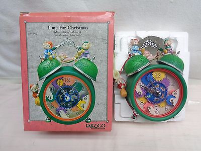 1991 Enesco Time for Christmas Musical Clock Music Mice on Clock