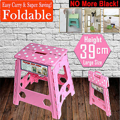 39cm Folding Step Stool Kitchen Garage Foldable Carry Storage Fishing Chair PINK