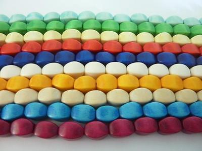 24 pce Dyed Wood Oval Wedge Beads 16mm x 10mm Tribal Jewellery Craft