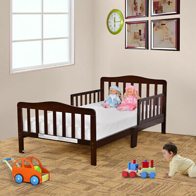 Baby Toddler Bed Kids Children Wood Bedroom Furniture w/Safety Rails Espresso
