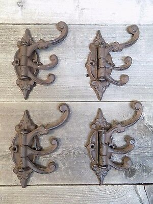 4 Cast Iron Antique Style SWIVEL Coat Hooks Hat Hook Rack Hall Tree Restoration