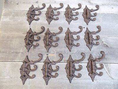 12 Cast Iron Antique Style SWIVEL Coat Hooks Hat Hook Rack Tree Restoration WOW!