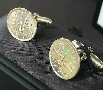 Choose the Year - AU Silver Threepence Sterling Silver Cuff links 1910 - 1964