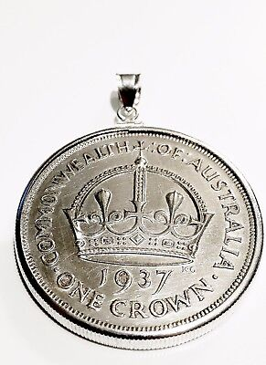 1937 Australian Crown - Sterling Silver Coin Edge Bezel