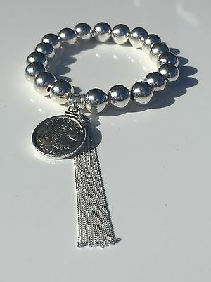 10mm Sterling Silver Bead + Tassel - Australian Silver Sixpence. Choose the year