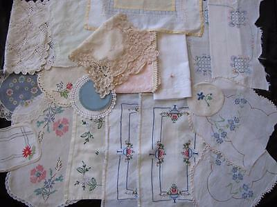Bulk 19 Doilies Linen Lace Embroidery Crochet Ideal for Craft Shabby Chic