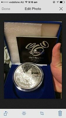 1971-1996 usa walt disney world 25 magical years 5oz silver medal coin coa box