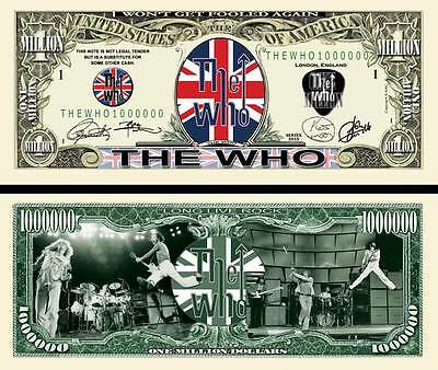*NEW* THE WHO MEMORABILIA - 50TH ANNIVERSARY -$1 Million Collectors Banknote/Bil