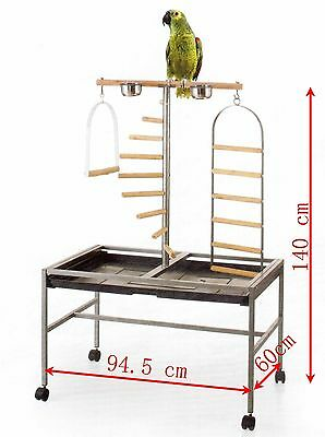 Brand New * Large Bird Parrot Playpen Gym Toy Stand On Wheels * Ed811