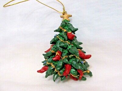 Resin Christmas Ornament Tree Decorated With Red & Green Chili Peppers & Star