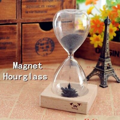 Magnetic Hourglass Wooden Base Unsual gift product but it is very cool, AUS Ship