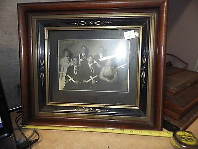 Antique Ornate Victorian Picture Frame Hand Carved Detail W/ Class School Photo