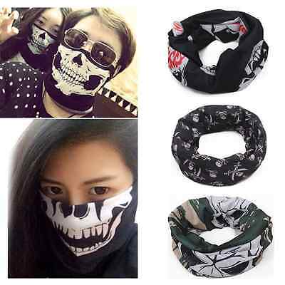 Fashion Punk Skull Pattern Cycling Women Mans Face Mask Bandana Headband Scarf A