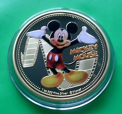 New Zealand 2015 Gold Plate Disney Mickey Mouse Coin In Capsule