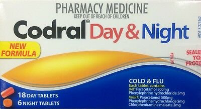 ~  Codral Pe Cold & Flu Day & Night 24 Tablets