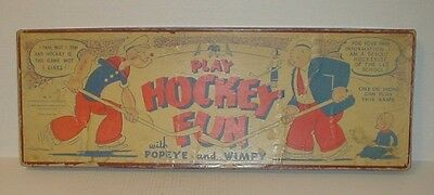 "RARE vtg 1935 ""PLAY HOCKEY FUN WITH POPEYE AND WIMPY"" Game Barnum Mfg. Co."