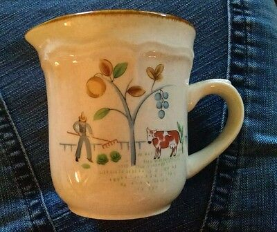 International Heartland Stoneware Farm Scene 7774  Creamer Pitcher tan brown