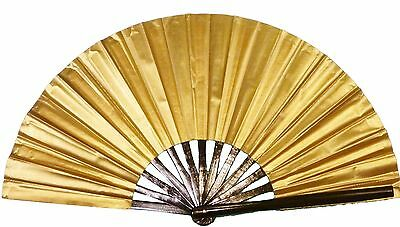 Gold hand fan, Tai Chi Fan, tessen, wushu, belly dancing performance fan.