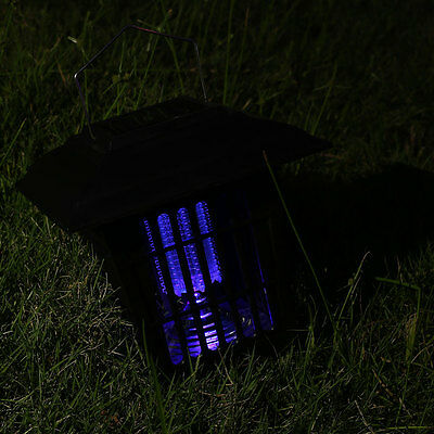 Outdoor Solar Powered 3LED Hanger Mosquito Light Fly Bug Killer Lamp Lawn