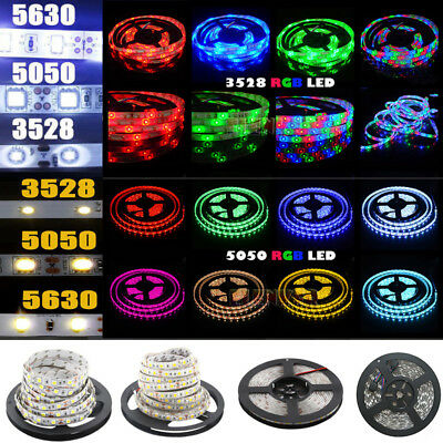 5M 300 LED Strip Light 3528 5050 5630 SMD RGB Ribbon Tape Roll Waterproof DC 12V