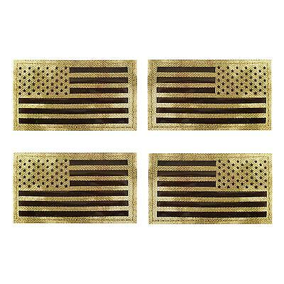 set of 4 USA american flag IR Infrared multicam embroidered IFF hook patches
