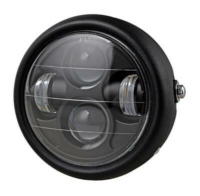 Motorcycle Black LED Projector Daymaker Round Headlight For Cafe Racer Bobber