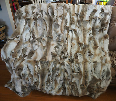 A Stunning Soft Natural Browns & Pure White Rabbit Fur Throw -1600mm x 1800mm