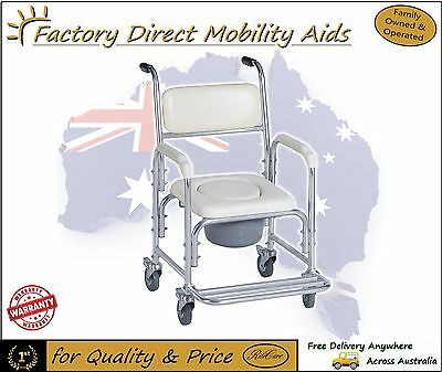 Aluminum Commode/ Shower Chair on wheels / Padded Seat with flip up foot rest