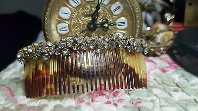 Vintage Tortoise Shell Hair Comb With Rhinestones Estate Find