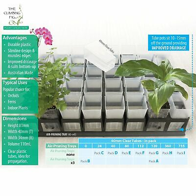 40mm clear plastic tube pots   Tray options   orchid & indoor plant propagation.