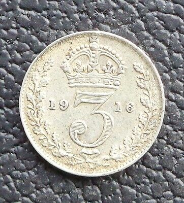 1916 3d George V Silver Threepence