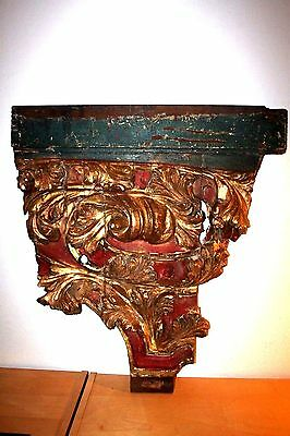 MUSEUM QUALITY  WOODEN ARCHITECTURAL PANEL WITH LEAVES - 18 cen.