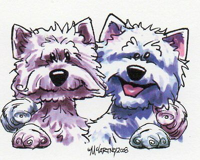 West Highland White Terrier Buddies Sign by Mike McCartney