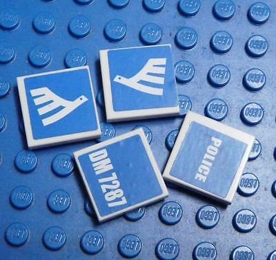 LEGO Tile 2x2 Assorted Blue Police Air  x4PC