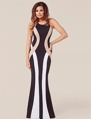 New black white & nude hour glass long evening cocktail prom dress Size M UK 12