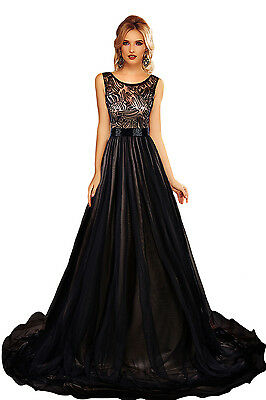 Black Sheer Lace Mesh Overlay Queen Cocktail Prom Evening Dress size UK 8-10