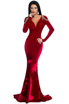 Red Long Sleeve Velvet Evening Gown cruise cocktail prom dress size 8-10