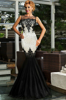 Silver Sequin Applique Mermaid Evening Cocktail Prom Dress Size UK 10-12