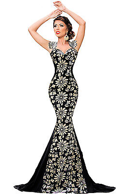 Flowery Paillette Detail Mermaid Evening Cocktail Prom Dress Size UK 8-10