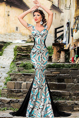 Silver Sequin Embellishment Mermaid Cocktail Prom Dress Evening Size UK 8-10