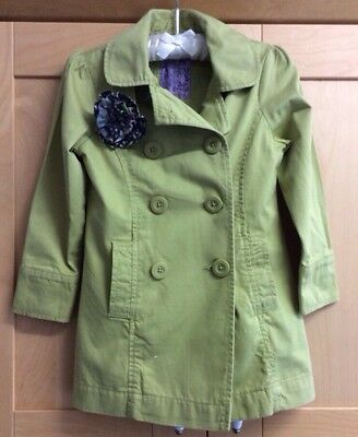 Next Girls Jacket Age 5-6 Years Lime Green Flower Smart Spring Cotton Button